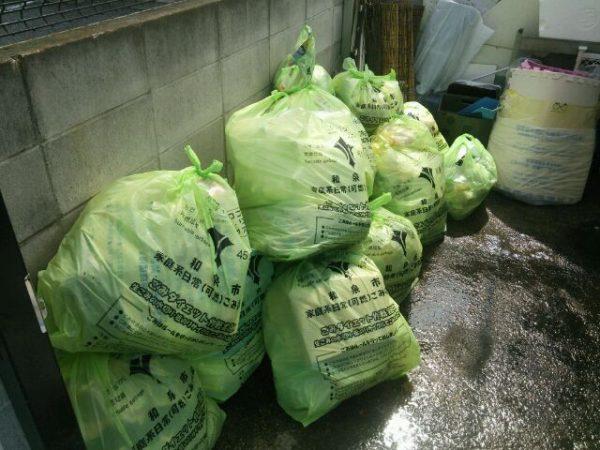 ゴミ袋作業後